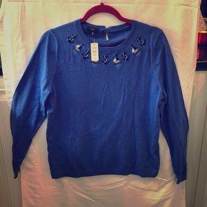 Talbots Blue Sailboat Anchor Sweater